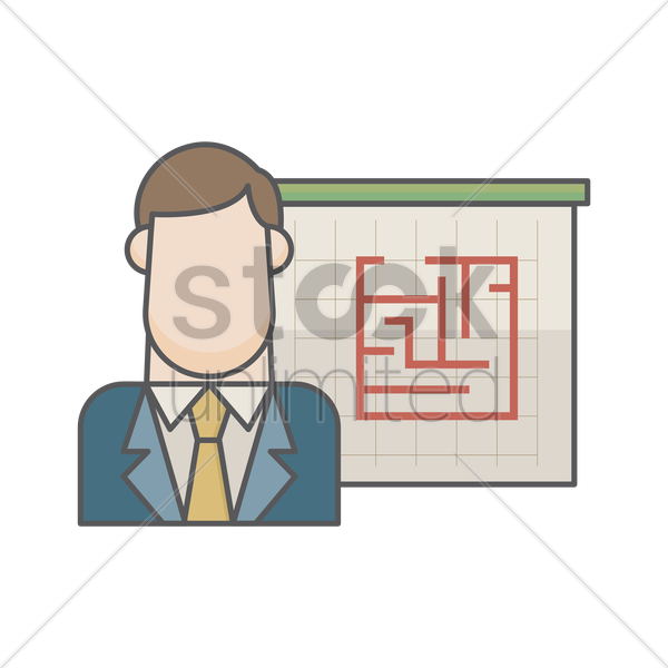 businessman and maze vector graphic