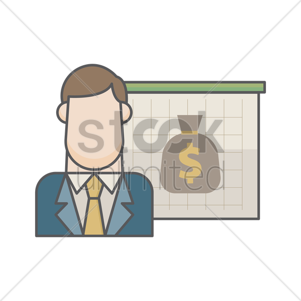 businessman and  money bag vector graphic