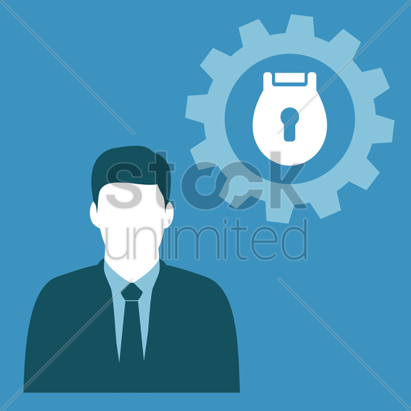Free businessman and padlock vector graphic