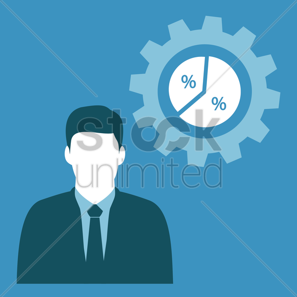 Free businessman and pie chart vector graphic