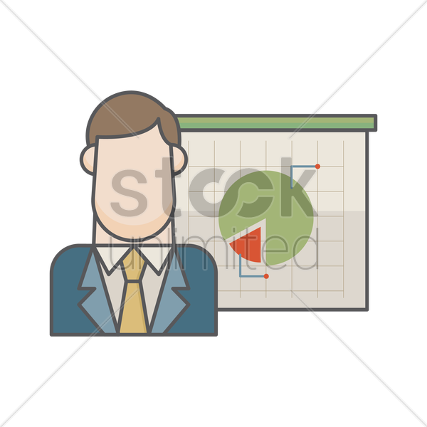 businessman and pie chart vector graphic