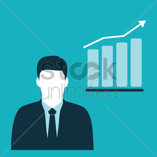 businessman and progress chart bar vector graphic