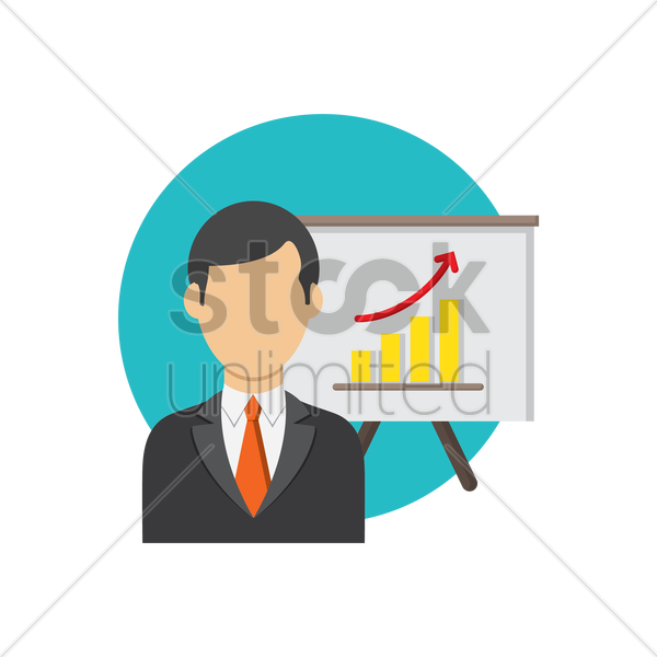 Free businessman and progress chart vector graphic