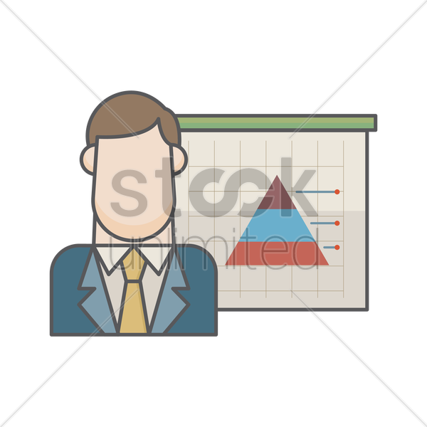 businessman and pyramid graph vector graphic