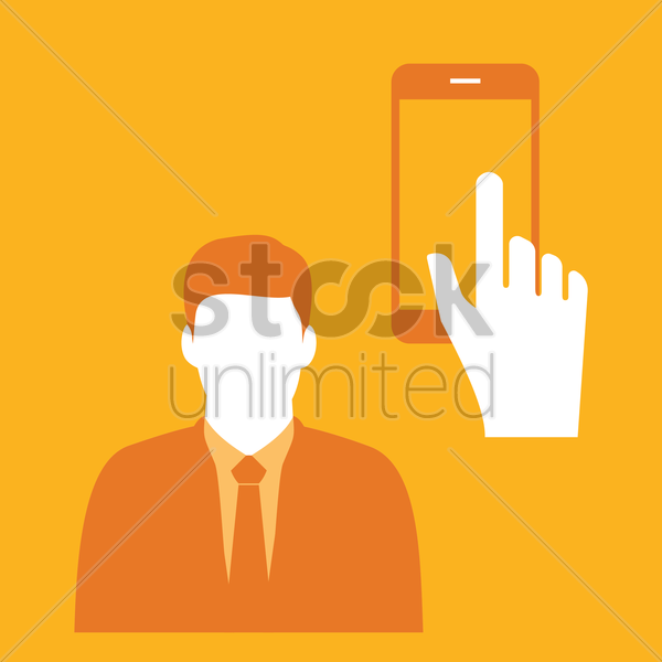 Free businessman and smartphone vector graphic