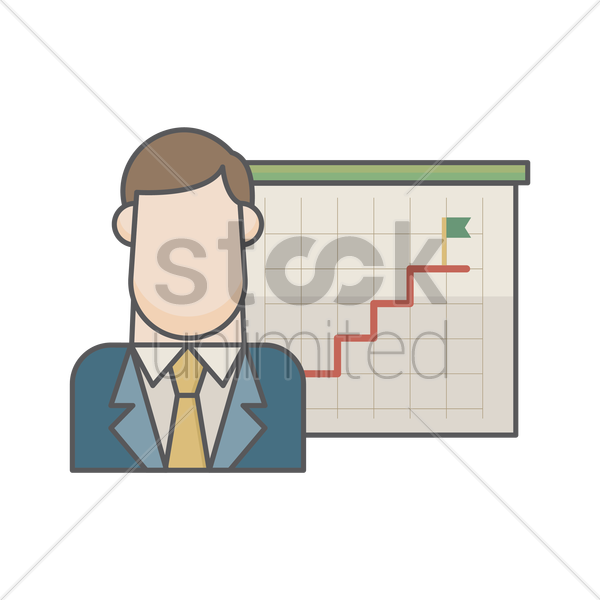 businessman and success stairs vector graphic