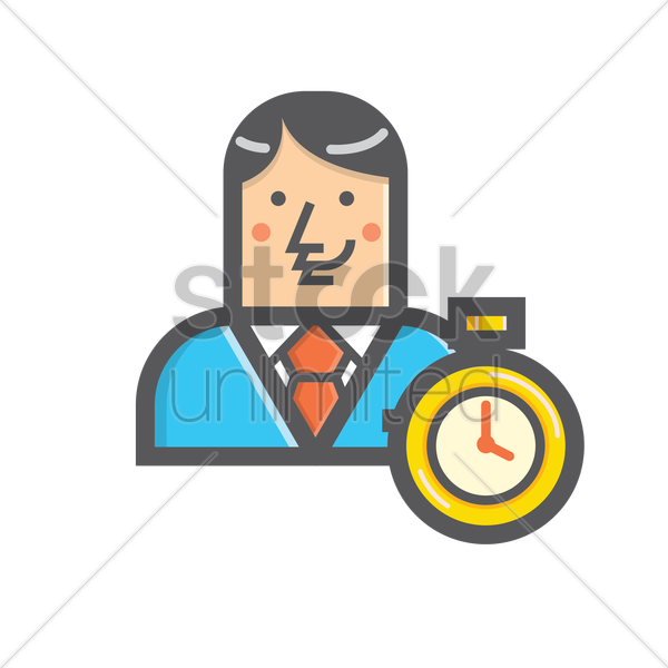 Free businessman and timer vector graphic