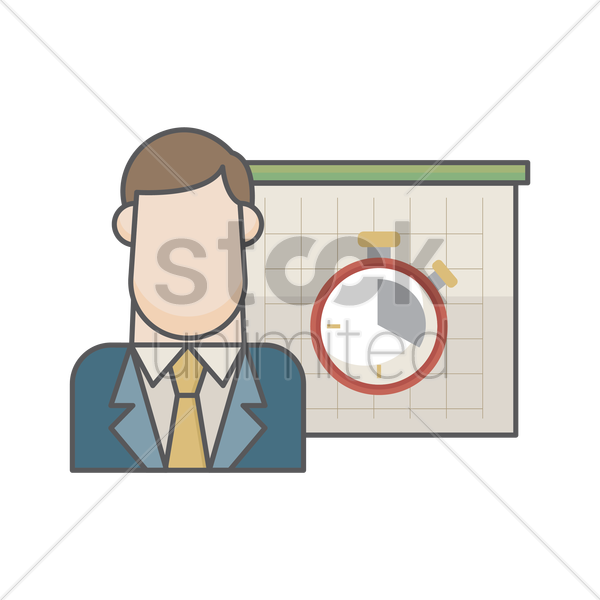 businessman and timer vector graphic