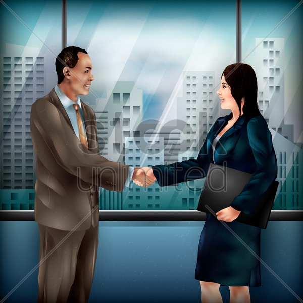 businessman and woman shaking hands vector graphic