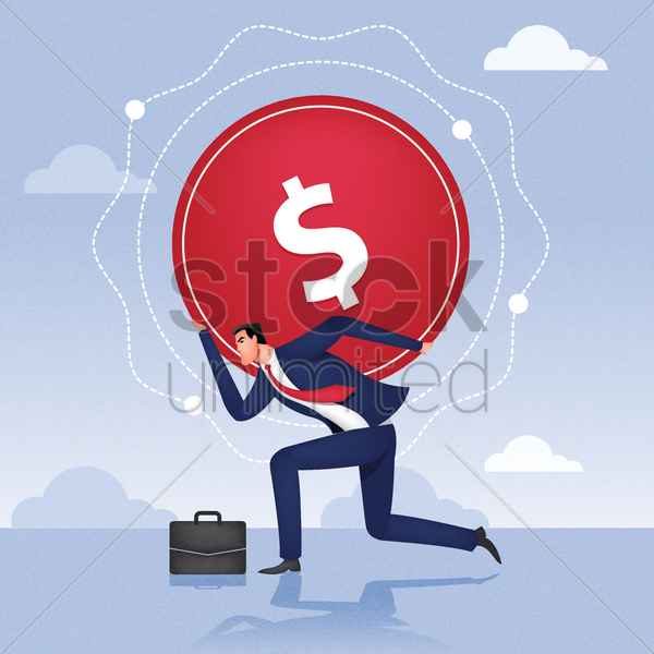 businessman carrying dollar on his back vector graphic