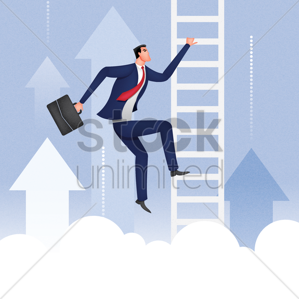 businessman climbing up the ladder vector graphic