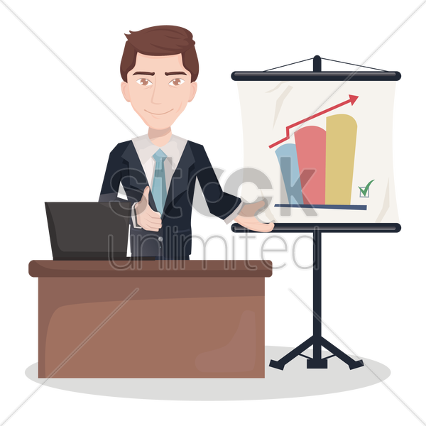 businessman during presentation vector graphic