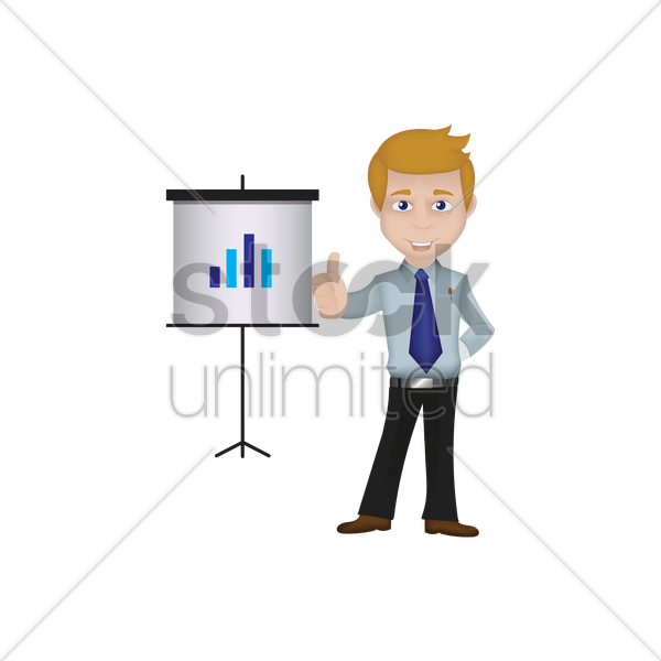 businessman giving presentation vector graphic