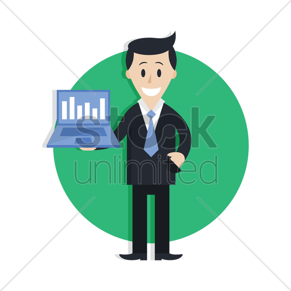 businessman holding a laptop vector graphic