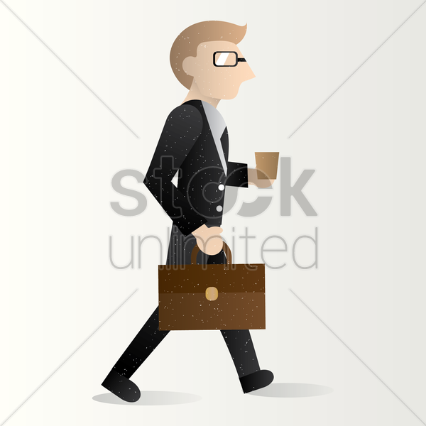 businessman holding briefcase and cup vector graphic