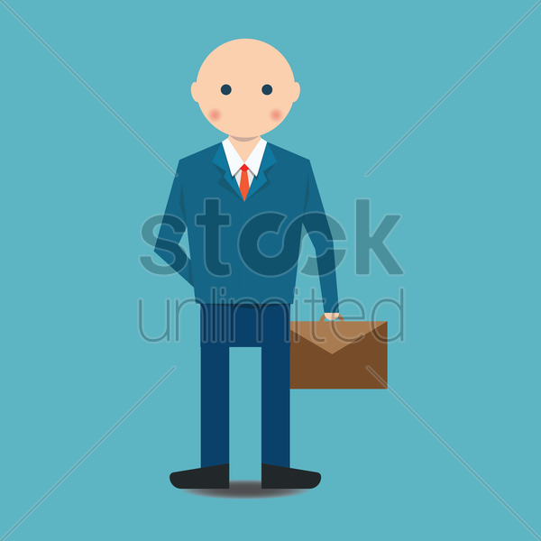 businessman holding briefcase vector graphic