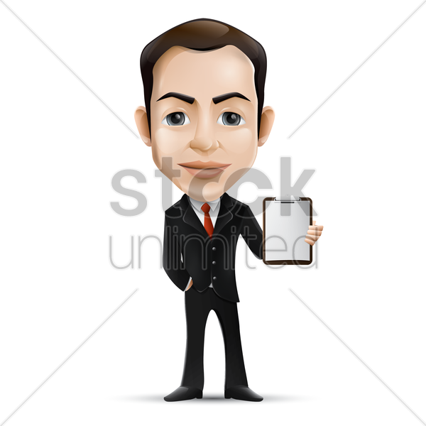businessman holding clipboard vector graphic