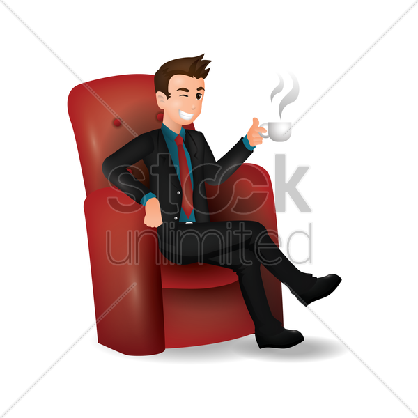 businessman holding cup vector graphic