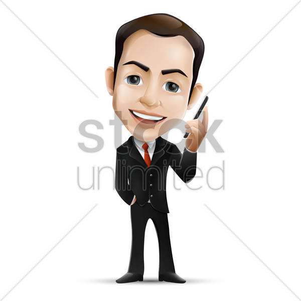 businessman holding pen vector graphic