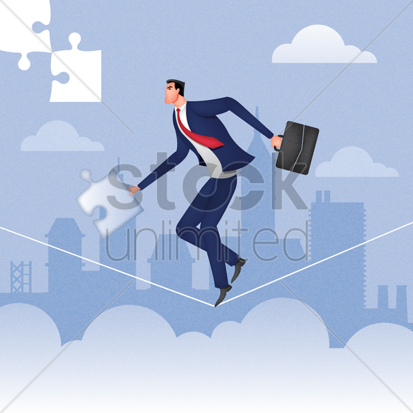businessman holding puzzle piece and doing a tightrope walk vector graphic