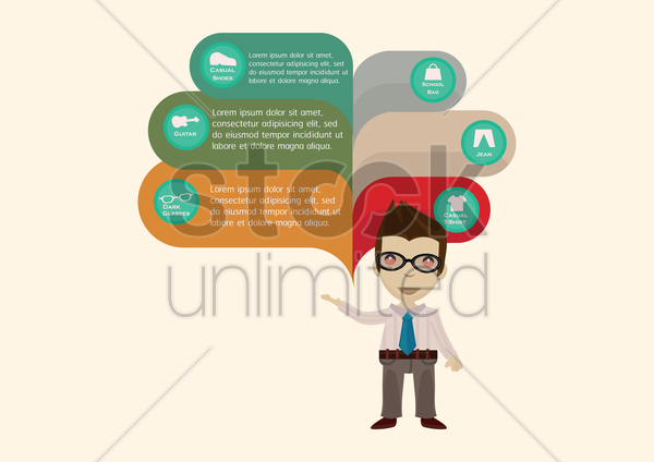 businessman presenting various items vector graphic