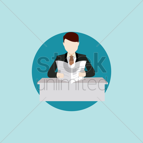 businessman reading newspaper vector graphic