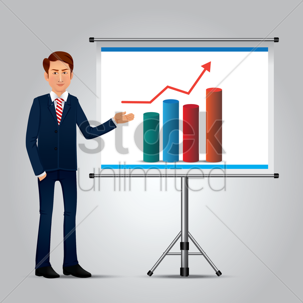 businessman showing chart vector graphic