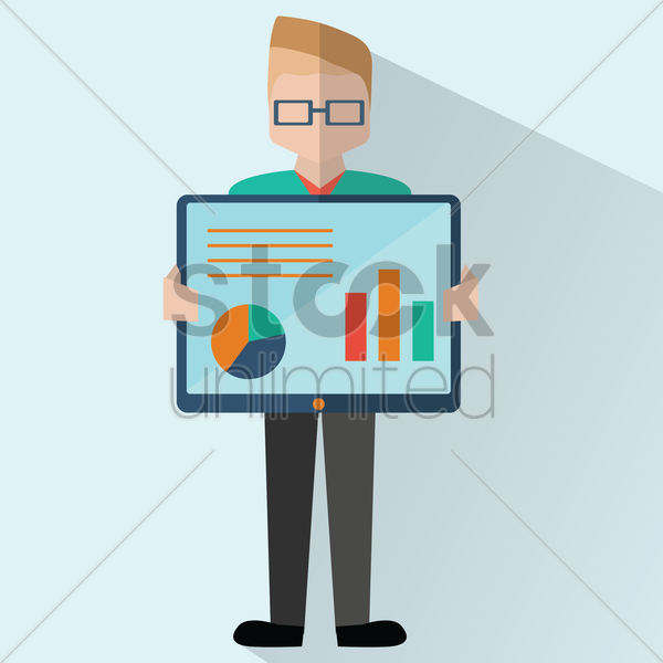 businessman showing presentation vector graphic
