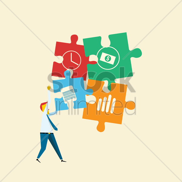 businessman solving business puzzle vector graphic