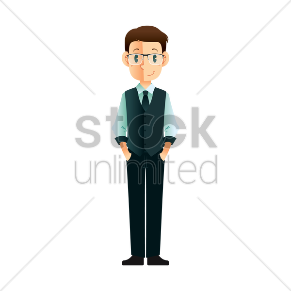 businessman standing vector graphic