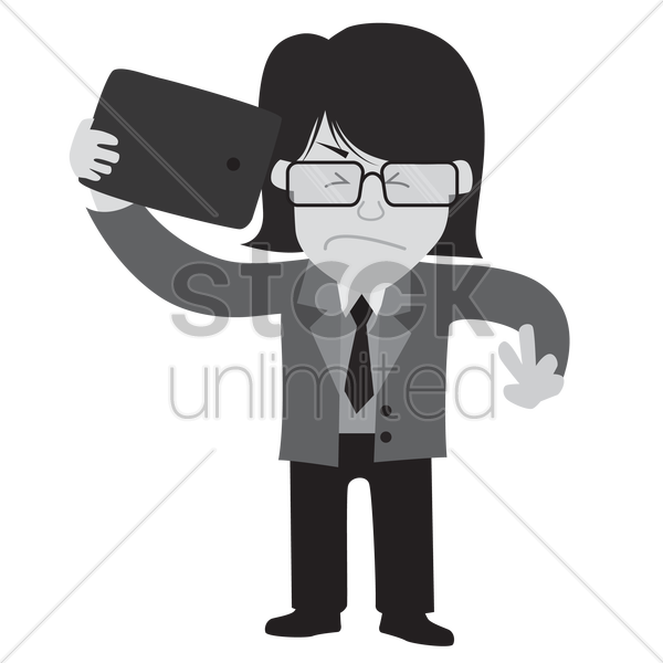Free businessman taking a selfie with an irritated expression vector graphic