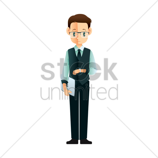 businessman waiting vector graphic