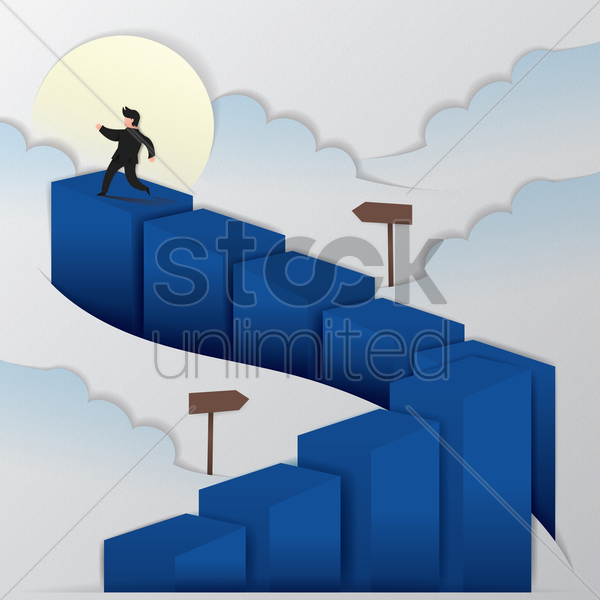 businessman walking on stairs vector graphic