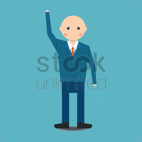 businessman waving vector graphic