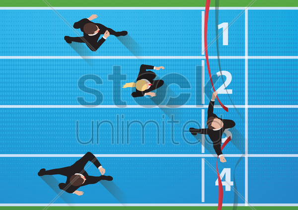 businessman winning the race vector graphic