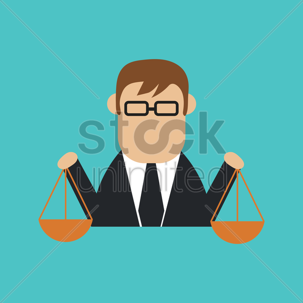 businessman with balance scale vector graphic
