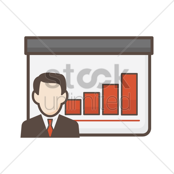 businessman with bar graph vector graphic