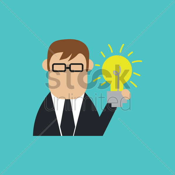 businessman with bulb vector graphic