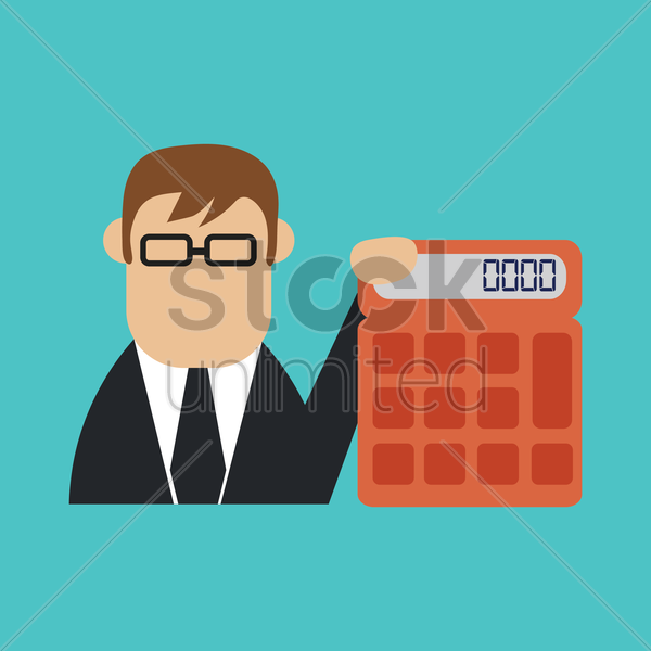 businessman with calculator vector graphic