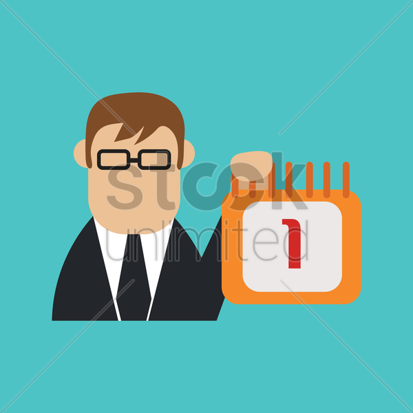 businessman with calendar vector graphic