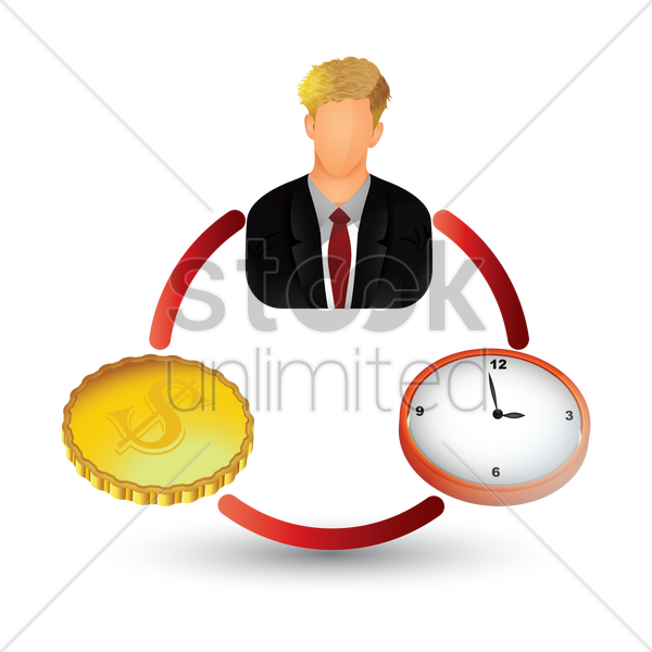 businessman with clock and coin vector graphic