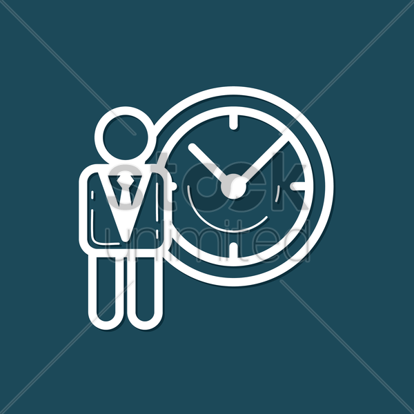 Free businessman with clock vector graphic