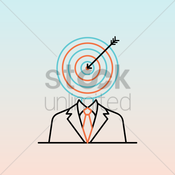 businessman with dartboard head vector graphic