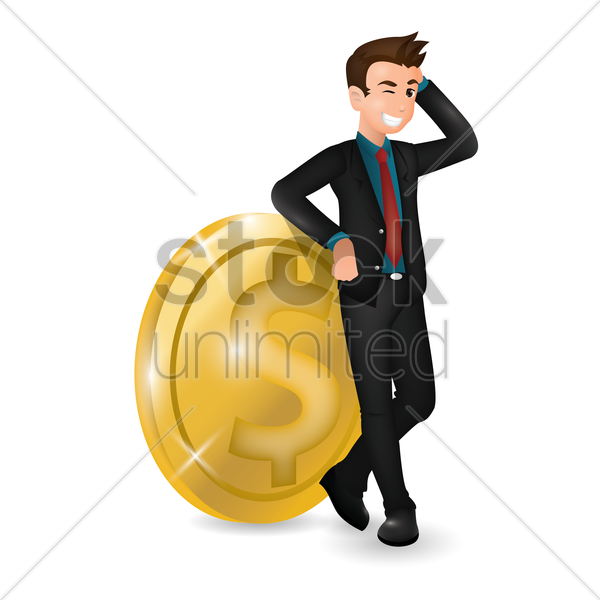 businessman with dollar coin vector graphic