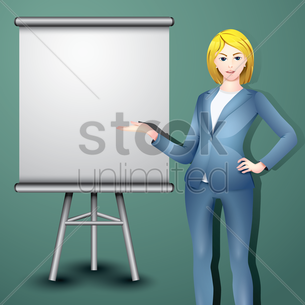 businessman with easel board vector graphic