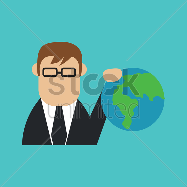 businessman with globe vector graphic