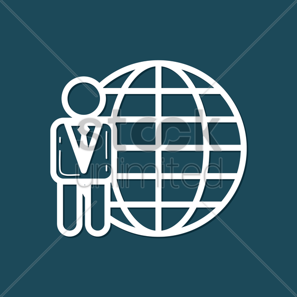Free businessman with globe vector graphic