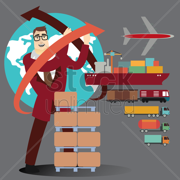 businessman with glove and logistic items vector graphic