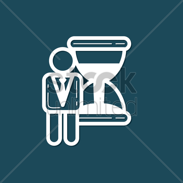 Free businessman with hourglass vector graphic