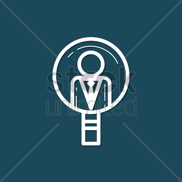 Free businessman with magnifying glass vector graphic